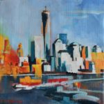 NY skyline, huile sur toile, 25x25