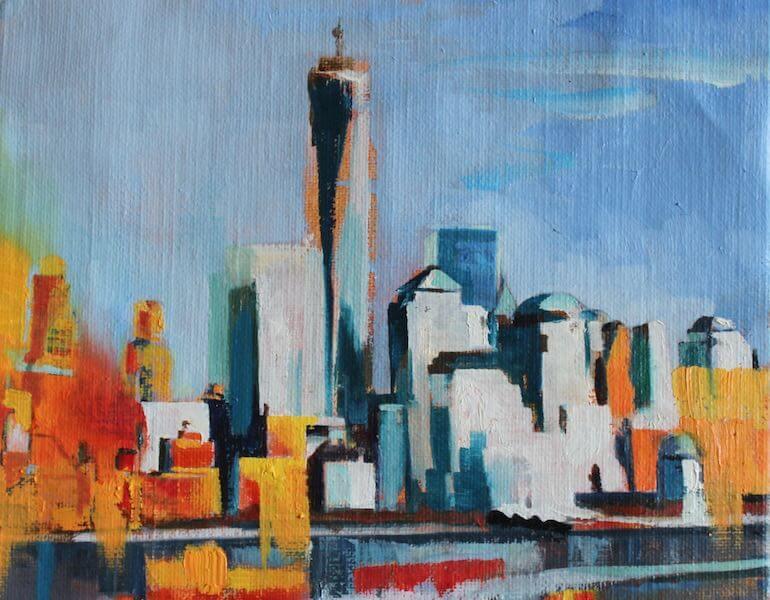 New-York-skyline-huile-sur-toile-30x30