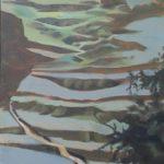 Ascension 1, Chine cultures étagées, huile sur toile, 150x50