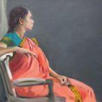 Le Sari, huile sur toile, 92x65 (30P) c roch