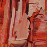 Ascension4, Roches rouges, Chine, Tucheng, huile sur toile, 150x50