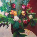 roses, huile sur toile,50x50 c roch