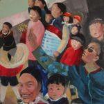 Enfance et art, huile sur bois, 180x60