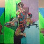 neons, huile sur toile, 100x200 - tryptique - c roch