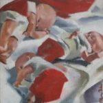 Poupees - Huile sur toile - 25x25 c roch