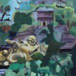 Pagode aux 7 Harmonies, Huang Zhou, Chine 1 huile sur bois, 180x60