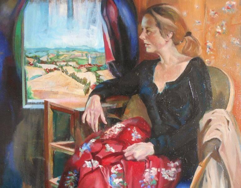 Madame a sa fenetre, huile sur toile, 81x65