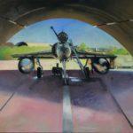 Mirage 2000N au repos, escadron de chasse 2.4 La Fayette, Istres, huile sur toile, 73x50 C ROCH