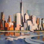 NY, skyline 2, huile sur toile, 25x25 rogné