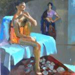 Dialogue, huile sur toile,50x50 c roch