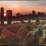 NY 5h30, Manhattan dps 85 st, huile sur toile, 90x30