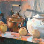 Amoureuses, huile sur toile, 61x38
